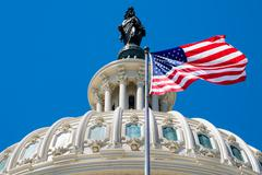 The american flag waving in front of the Capitol dome in Washing Stock Photos