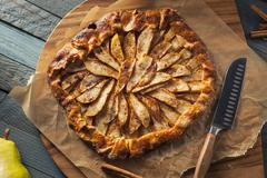 Homemade Autumn Pear Galette Pastry Stock Photos