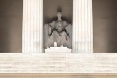 The Abraham Lincoln Statue at the Lincoln Memorial in Washington Stock Photos