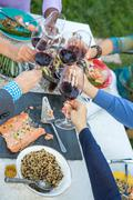 Hands of mature friends making a red wine toast at garden party table Stock Photos