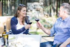 Mature couple making a red wine toast at garden table Stock Photos