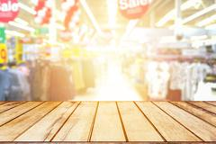 Wood floor and Supermarket blur background, Product display, template Stock Photos