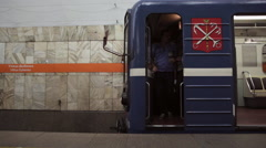 Russian metro train drivers switch shifts in a subway station in Saint Petersbur Stock Footage