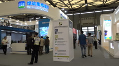 Chinese trade show for green building practices in Shanghai Stock Footage