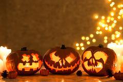Three creepy pumpkins Stock Photos