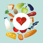 Assorted healthy food and heart cardiogram icons image Stock Illustration