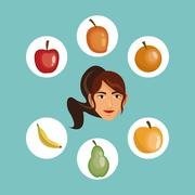 Person surrounded assorted healthy food icons image Stock Illustration