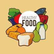 Assorted healthy food icons emblem Piirros