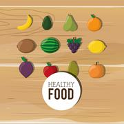 Assorted healthy food icons emblem Stock Illustration
