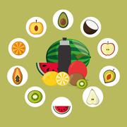Assorted healthy food icons image Stock Illustration