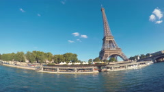 Seine River and Eiffel Tower Stock Footage