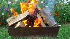 Barbecue grill fire firewood in the garden with flowers in 4k closeup Stock Footage