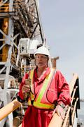Engineer working on oil rig Stock Photos