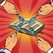 Competition religions, ancient book Stock Illustration