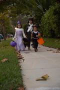 Boy and sisters trick or treating walking on sidewalk Stock Photos