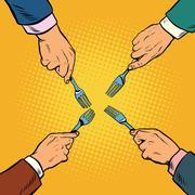 Hands with fork divide something Stock Illustration