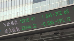 Share prices on a ticker board in Shanghai, China Stock Footage
