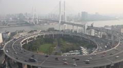 Traffic drives over Nanpu bridge in Shanghai Stock Footage