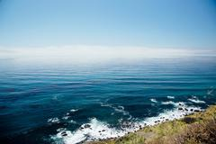 Elevated view of coast and sea, Big Sur, California, USA Stock Photos