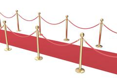 Gold stanchions and a red velvet carpet isolated on white. 3d illustration Piirros