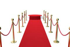 Red carpet with golden barrier and ropes. Stairway to speak. 3d illustration Stock Illustration