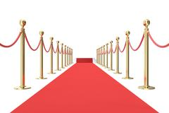 Red carpet with golden barrier and ropes. Stairs in the end. 3d illustration Stock Illustration