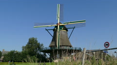 The monks windmill in St. Jansklooster at blue sky Stock Footage