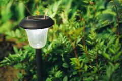 Small Solar Garden Light, Lantern In Flower Bed. Garden Design Stock Photos