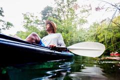 Man kayaking at Econfina Creek, Florida, USA Stock Photos