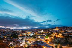 Scenic Top View Of Tbilisi Georgia In Evening Illumination With Kuvituskuvat