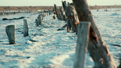 Pink lakes, sunset, old wooden poles. Unusual natural place. Landscape. Camera Stock Footage