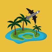 Island with vacation travel icons image Stock Illustration