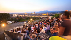 Night view of Florence from Piazzale Michelangelo, Tuscany Stock Footage