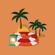 Palm tree with vacation travel icons image Stock Illustration