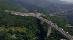 Overpass highway viaduct bridge road with truck lorry cars move fly aerial 4K Stock Footage