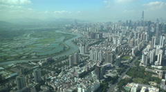 Border zone between Hong Kong and Shenzhen on China's mainland Stock Footage
