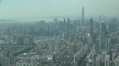 Skyline of fast growing metropolis Shenzhen in Southern China Stock Footage
