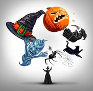 Halloween Juggling witch Stock Illustration