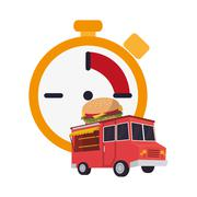 Chronometer and  fast food truck  icon Stock Illustration