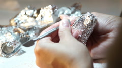 The girl does manicure. Woman paints fingernails Stock Footage
