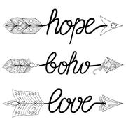 Boho, Love, Hope Arrows. Hand drawn Signs with feathers. Decorat Stock Illustration