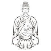 Vector Sitting Buddha in Lotus pose, teaching Buddhism, tattoo a Stock Illustration