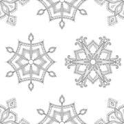 Zentangle winter snowflakes seamless pattern for Christmas, New Stock Illustration