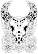 Zentangle stylized Animal Skull with flowers. Hand drawn ethnic Piirros