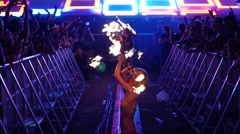 Fire Girl Dancing Concert Slow Motion HD 96fps Stock Footage