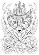 Zentangle wild fox with indian war bonnet in grass and flowers Stock Illustration