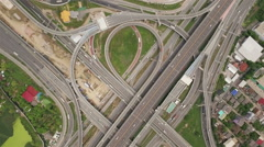 Aerial view above Motorway & Ring Roads Inter-Change Systems Stock Footage