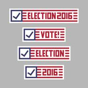 United States of America presidential election banner badges. Vote logo vecto Stock Illustration