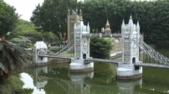 Miniature version of the London Bridge in a theme park in Shenzhen, China Stock Footage