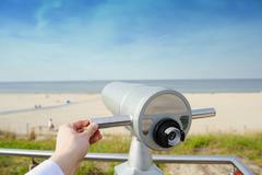 Close-Up of Sightseeing Binoculars Stock Photos